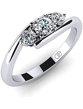 Moncoeur Damen-Ring Lupine 925 Sterling Silber 3 Swarovski-Zirkonia Steine