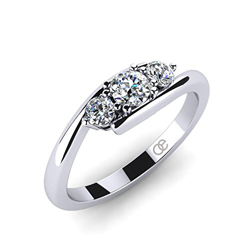 Ring Lupine + 3 & 5 Stein Verlobungsringe Trauringe Eheringe + Trilogy 925 Silberringe für Damen mit Zirkonia + SWAROVSKI Zirkonia Ring + bombierter Verlobungsring...