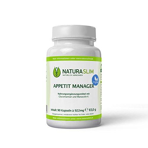Naturaslim Appetit-Manager Appetithemmer Kapseln Natur pur aus 100% Glucomannan - 1er Pack 90 Kapseln à 710mg - 100% Zufriedenheit garantiert