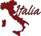 GRAZDesign 630083_57_030 Wandtattoo Wandaufkleber Deko für Wohnzimmer Welt Kontinent Land Karte Italien (64x57cm//030 dunkelrot)