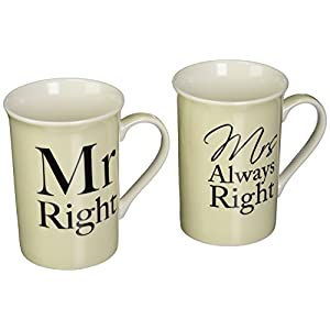 Mr & Mrs Right Bechers Boxed Pair
