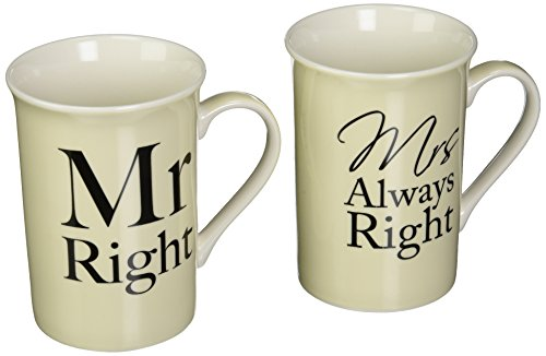 The Leonardo Collection LP33186 (Set of Two) Mr. Right and Mrs. Always Right Mugs Fine China Gift Set, White -