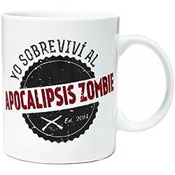 Taza mug desayuno de porcelana blanca 30 cl. Modelo Apocalipsis Zombie Superviviente