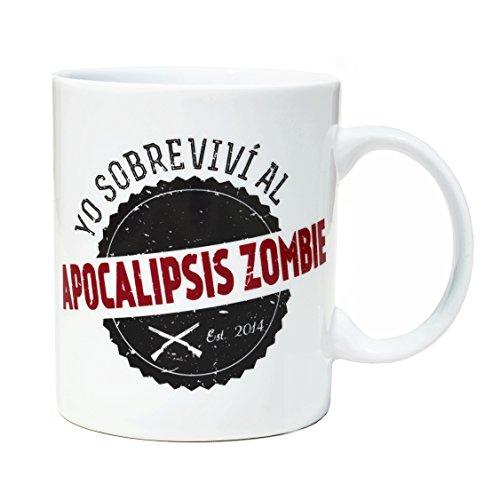 Tasse mug petit-déjeuner de porcelaine blanche 30 cl. Modèle Apocalypse Zombie Survivant