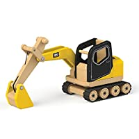 Tidlo T0415 Wooden Digger Construction Vehicles Toy, Multi-Colour