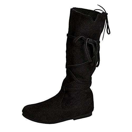 Elbenwald Mittelalter Schnürstiefel 36-48 Veloursleder schwarz - - Renaissance Kostüm Schuhe