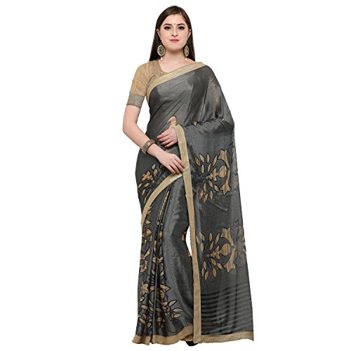 Womanista Cotton Saree with Blouse Piece (FSP521!_Grey!_One Size)