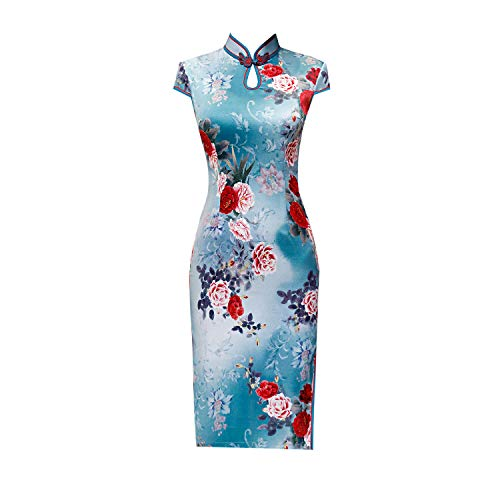 YAN Lady Dresses Self-Cultivation Vintage Floral Short Sleeve Stand Neck Cocktail Formal Wrap Kleider für Frauen Girl Geschenk,Blue,XL