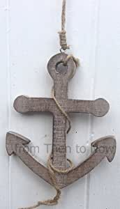 Nautical Wooden Hanging Rope Anchor Bathroom Beach Boat