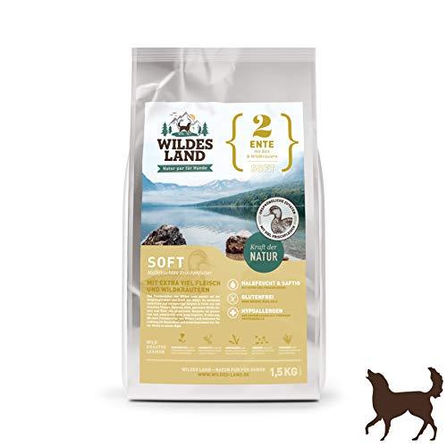Wildes Land | Halbfeuchtes Trockenfutter für Hunde | Nr. 2 Ente | 1,5 kg | mit Reis und Wildkräutern | Glutenfrei | Extra viel Fleisch | Soft Alle Hunderassen Akzeptanz und Verträglichkeit