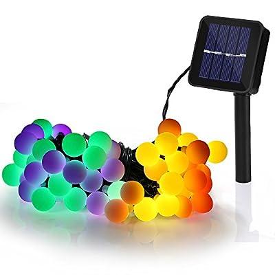 Solar Lichterkette LED Lichterkette, 60 Globe LED 10m mit 8 Lichtmodi Lichterkette, Drinnen und Außen Wasserdicht Deko Glühbirne für Garten, Balkon, Party, Hochzeit, Weihnachten (Mehrfarbig)