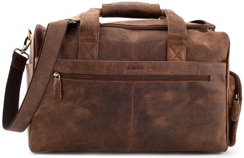 LEABAGS Oslo Reisetasche aus echtem Büffel-Leder im Vintage Look - Muskat (Vintage-gepäck-set Leder)