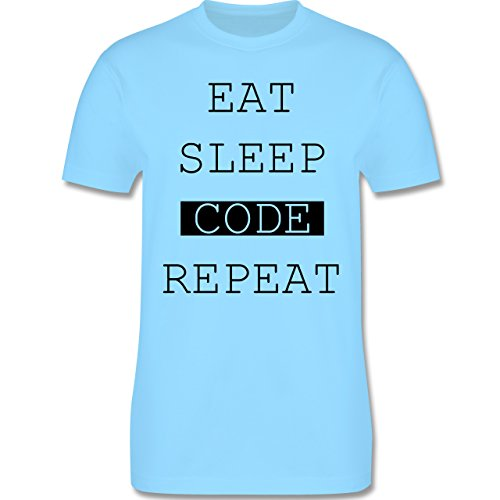 Programmierer - Eat-Sleep-Code-Repeat - Herren Premium T-Shirt Hellblau