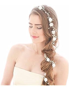 Rokoo Novia de perlas de pelo Postizos de la vid peluca larga diadema de pelo de la boda accesorios