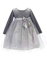 b391b71827a BIMARO Baby Samtkleid Emmi Grau Silber Festlich Tüll Glitzersteine Schleife  Kleid Samt Taufkleid Winter Taufe Weihnachten
