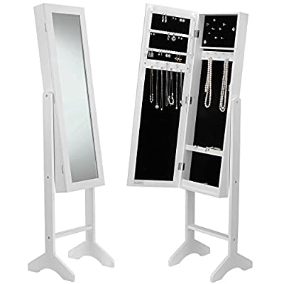 Beautify Floor Standing Jewellery Cabinet Organiser with Mirror - White - low-cost UK light shop.