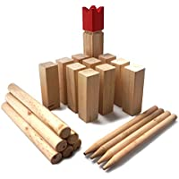 Ocean5 Kubb - Original Wikinger Wurfspiel für Draußen - Holz Schach Kegel Spiel aus Skandinavien - Das Geschicklichkeitsspiel für Den Sommer