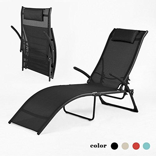 SoBuy® lettino prendisole, sdraia da spiaggia relax colore: nero, OGS22-SCH.IT