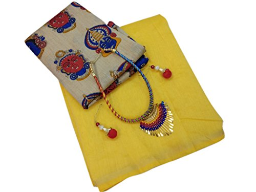SilverStar Women's Plain Chanderi Cotton Yellow Color Sari With Printed Blouse With...