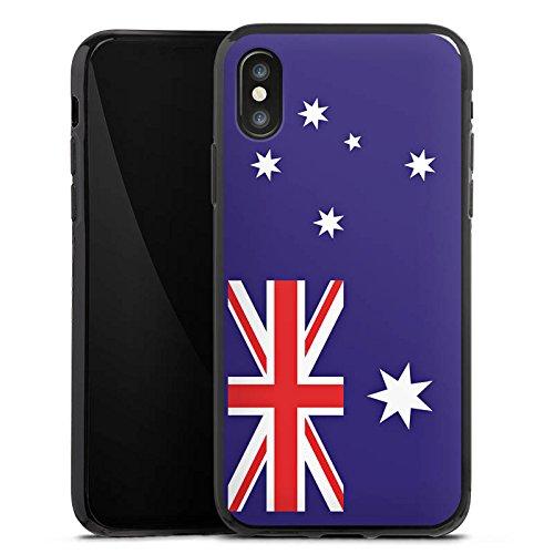 Apple iPhone X Silikon Hülle Case Schutzhülle Australien Flagge Fußball Silikon Case schwarz