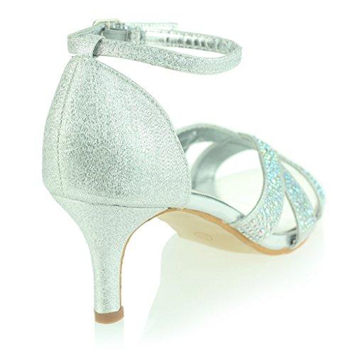 Donne Le Signore Glitzy Punta Aperta Cinghietti Tacco Medio Sandali Sera Festa Nozze Ballo di Fine Anno Diamante Nuziale Scarpe Taglia Argento