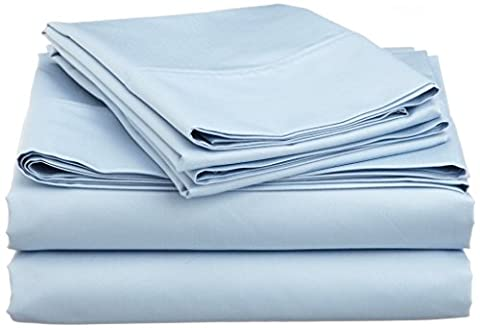 British Choice Linen Egyptian Cotton 650-Thread-Count Sateen Double/Small Double Size 1 Qty Duvet Cover Zipper Closer Only, Light blue