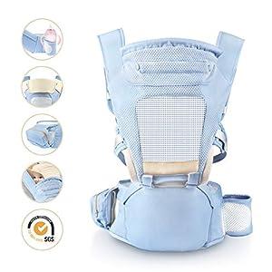 Babytrage, Laluztop Ergonomische Kindertarge mit Hüftsitz, Versterllbarem Hüftgurt(118cm), Ideal für Neugeborene…