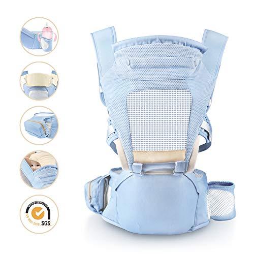 Babytrage, Laluztop Ergonomische Kindertarge mit Hüftsitz, Versterllbarem Hüftgurt(118cm), Ideal für Neugeborene/Kleinkinder(bis 30Kg)