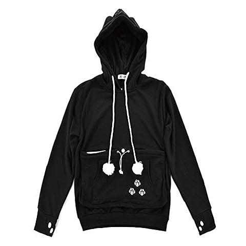 Filles Cat Pet Kangaroo Pocket Hoodie - Cat Sweatshirt Ear Pocket (noir, M)