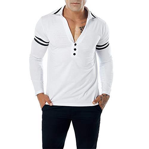 Männer tiefem V-Ausschnitt Revers Farbabstimmung Polo Tops Freizeit Revers Hals Unterstützung Shirt Erwachsene ComfortSoft Langarm Tasten T-Shirt (Farbe : Weiß, Größe : S)