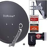 DUR-line 4 Teilnehmer Set - Qualitäts-Alu-Satelliten-Komplettanlage - Select 60cm/65cm Spiegel/Schüssel Anthrazit + Quad LNB - für 4 Receiver/TV [Neuste Technik, DVB-S2, 4K, 3D]