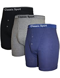 Mens Classic Sport Waistband Motif Button Fly Boxer Shorts Underwear 3 PK