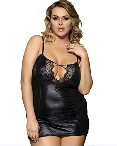 FMN-QQ, Sexy Erotica Kunstleder Hot Sexy Frauen Dessous Transparent Plus Size Spitze Patchwork Frauen Sexy Babydolls (Color : Black, Size : XL)