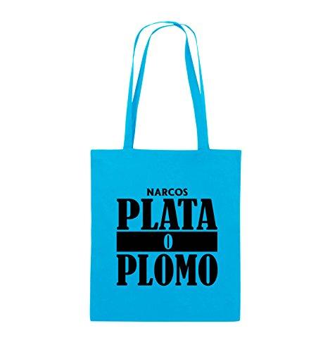 Borse Per Commedia - Plata O Plomo - Narcos - Borsa In Juta - Manico Lungo - 38x42cm - Colore: Nero / Rosa Azzurro / Nero