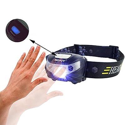 SOAIY® Wiederaufladbare Cree LED Stirnlampe mit Handbewegung IR-Sensor 140 Lumen 3 Leuchtmodi verstellbares Stirnband Kopflampe Taschenlampe für Outdoor Sport Joggen Camping Wandern Fahrrad Klettern Fischen Jagd