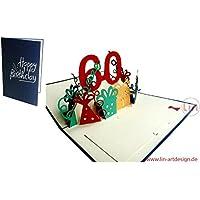 LIN - Pop Up 3D Biglietto di auguri, Buon compleanno 60 anni, (#23)