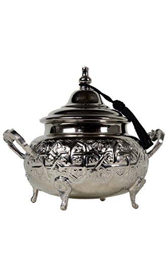 Orientalische Zuckerdosen Dosen aus Messing in Silber Bensu 12cm | Marokkanische Minzdose Tee Kaffee...