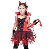 RESTBUY Halloween Teufel Kostüm für Kinder Fasching Bekleidung für Mädchen Teufelkostüm 3-teilige Kinderkostüm ,mit Hörner Haarreifen