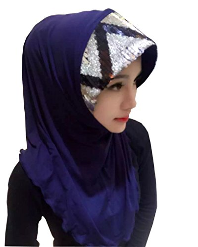 GladThink Musulmane Hijab traditionnelle Avec Paillettes Décoration Femmes Marine
