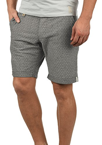 Blend Sergio Herren Chino Shorts Bermuda Kurze Hose mit Rauten-Muster aus 100% Baumwolle Regular Fit, Größe:L, Farbe:Black (70155)