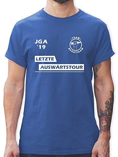 Fass Kostüm Mann - JGA Junggesellenabschied - JGA 2019 Letzte Auswärtstour Team Bräutigam - L - Royalblau - L190 - Herren T-Shirt und Männer Tshirt
