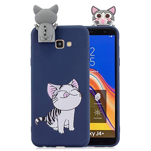 Jorisa Hülle Kompatibel mit Samsung Galaxy J4 Plus,Niedlich Tier Katze Muster mit Süße 3D Karikatur Ständer Handyhülle,Ultra Dünn Weich Silikon TPU Kratzfest Schutzhülle,Navy Blau