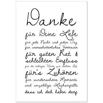 Poster Danke für Deine Liebe – Kunstdruck auf hochwertigem Papier – tolles Geschenk zum Valentinstag oder Muttertag…