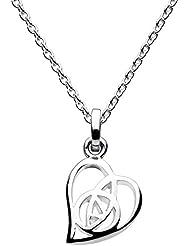 Heritage - Collar para mujer de plata de ley, diseño de rosa dentro de corazón, 45,7 cm