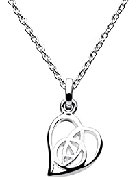 Heritage Sterling Silver Mackintosh Open Rose Heart Necklace of Length 45.7 cm