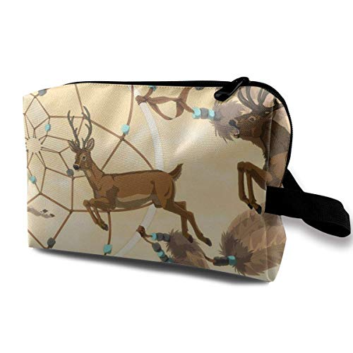 With Wristlet Cosmetic Bags Deers Dream Catcher Travel Portable Makeup Bag Zipper Wallet Hangbag -