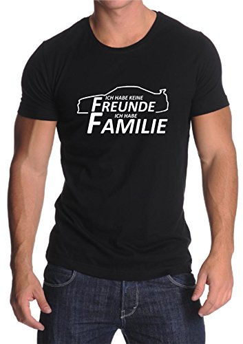 Saphir Design Paul Walker, Vin Diesel. Ich Habe Keine Freunde ich Habe Familie Schrift auf schwarzem T-Shirt (XL, Weiß)