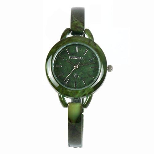 Für Frauen Jade-schmuck (Bewell Damen Fashion Jade Armbanduhr Wasserdicht Luxus Quarz Uhr mit Schmuck Verschluss)