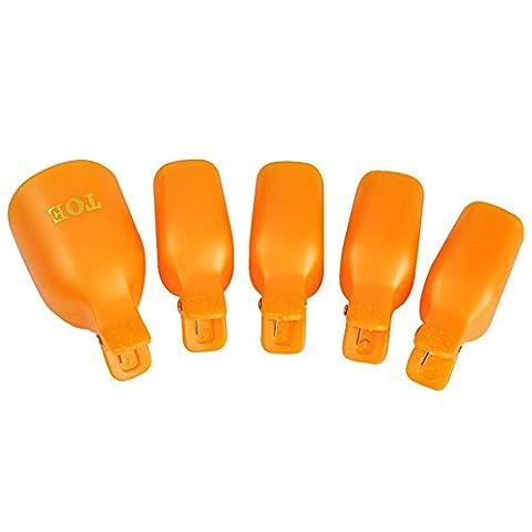 Hrph 5Pcs Kunststoff Fuß Zehe-Nagel-Kunst tränken weg Cap Clip UV Gel Polish Remover Wrap-Werkzeug