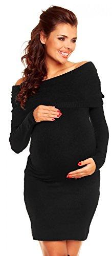 Zeta Ville Maternité - Robe en maille de grossesse rayures - bardot - femme 887c Noir